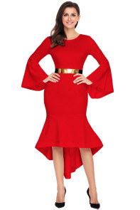 Red Bell Sleeve Dip Hem Belted Dress