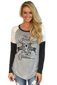 Black Reindeer Have Yourself a Merry Little Christmas Printed Blouse Top