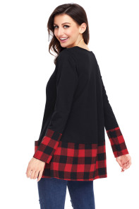 Gold Sequin Christmas Reindeer Black Tunic with Plaid Detail
