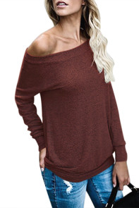 Wine Women's Off Shoulder Tunic Top