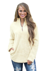 White Zipped Pullover Fleece Outfit