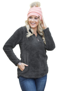 Gray Zipped Pullover Fleece Outfit
