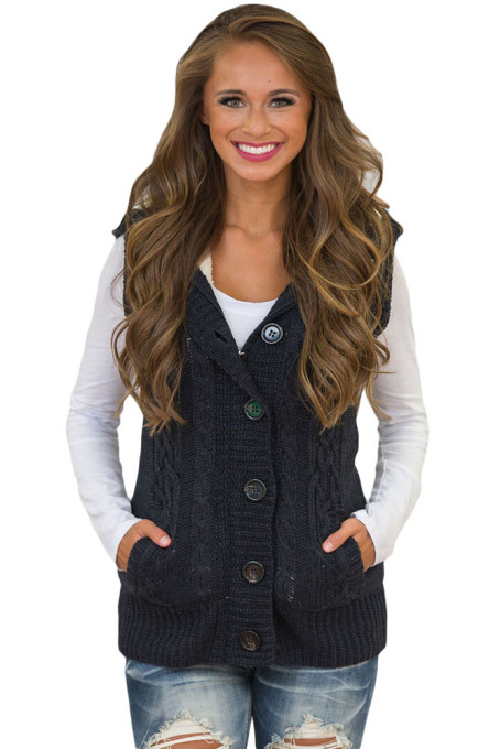 Us4045 Zkess Black Cable Knit Hooded Sweater Vest