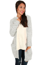 Heathered Gray Long Sleeve Hooded Long Cardigan
