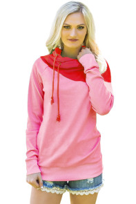 Red Duotone Chic Hooded Sweatshirt