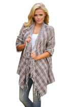 Mocha White Plaid Tassel Trim Lightweight Cardigan