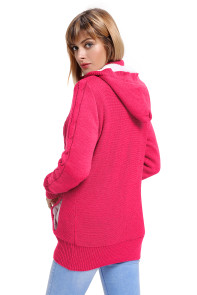 Rosy Long Sleeve Button-up Hooded Cardigans