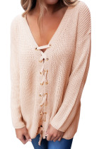 Khaki Sexy V Neck Lace up Front Sweater