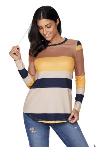 Mustard Color Block Top with Sequin Elbow Patches