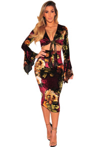 Wine Velvet Floral Tie up Bell Sleeve Two Piece Skirt Set