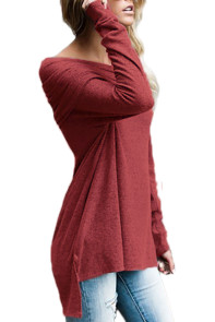 Burgundy Ruched Off Shoulder Long Sleeve Top