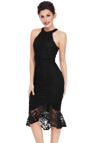 Black Sleeveless Lace Fishtail Bodycon Dress