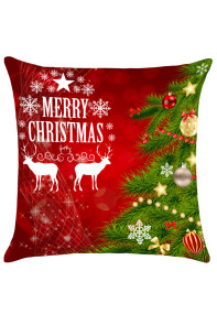 Red and Green Christmas Tree Elks Pattern Pillow Case