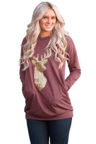 Sparkling Gold Sequin Reindeer Burgundy Christmas Top