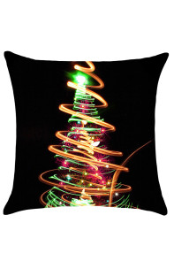 Neon Light Christmas Tree Print Linen Pillowcase