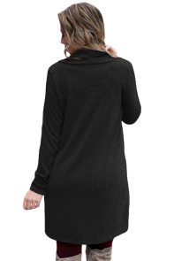 Black Drawstring Cowl Neck Sweatshirt Dress
