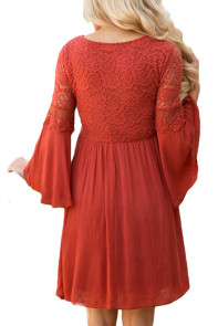 Rusty Red Dreamy Lace Top Elegant Swing Dress