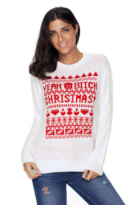 White YEAH BITCH CHRISTMAS Sweater
