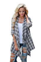 Grey White Plaid Tassel Trim Lightweight Cardigan