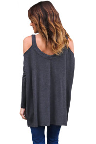 Black Long Sleeve Relaxed Fit Cold Shoulder Top