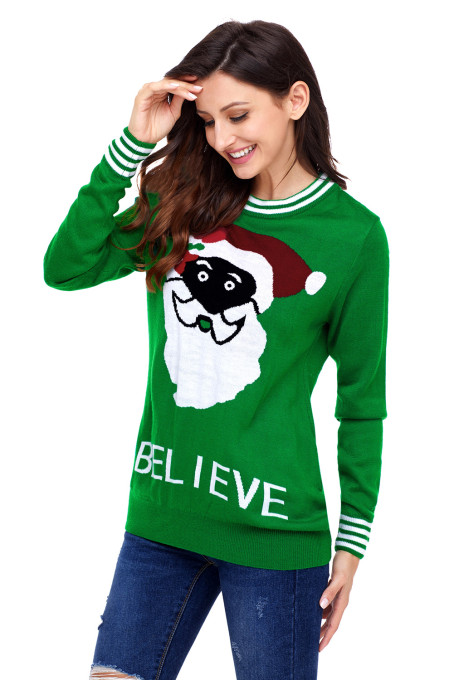 black santa christmas sweater in green