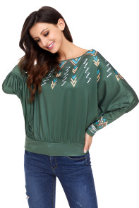 Green Printed Batwing Sleeve Skew Neck Blouse
