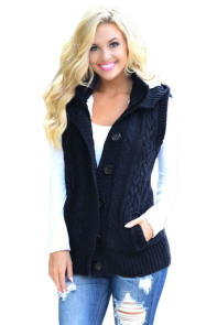 Navy Cable Knit Hooded Sweater Vest