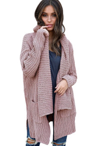 Pink Comfy Cozy Pocketed Cardigan
