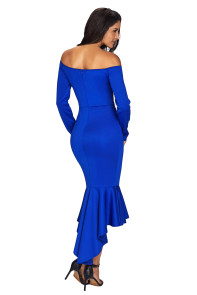 Navy Blue Off Shoulder Long Sleeve Mermaid Dress