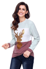 Red White Grey Colorblock Gold Reindeer Top