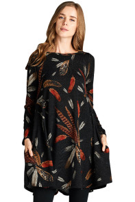 Black Feather Graphic Pocket Tunic Dress