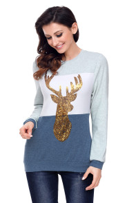 Navy White Grey Colorblock Gold Reindeer Top