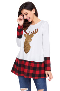 Gold Sequin Christmas Reindeer White Tunic with Plaid Detail