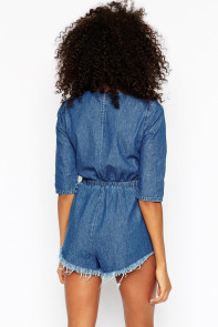 Denim Tie Front Playsuit
