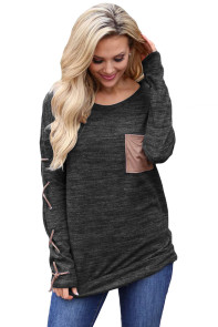 Black Lace up Sleeve Front Pocket Women's Casual Top