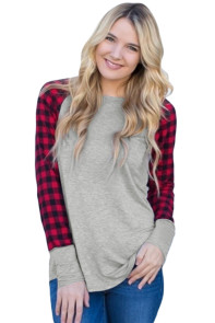 Red Black Plaid Sleeve Grey Top