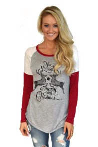 Wine Reindeer Have Yourself a Merry Little Christmas Printed Blouse Top