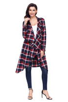 Red Hipster Plaid Draped Open Front Cardigan