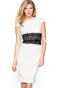 White Paper Dolls Lace Waistband Midi Dress with Belt