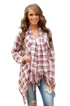 Red White Plaid Tassel Trim Lightweight Cardigan