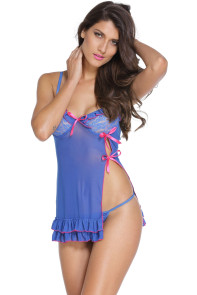 Blue Sexy Night Lace Cup Babydoll with Slit