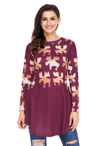 Orange Cartoon Reindeer Print Mauve Christmas Blouse