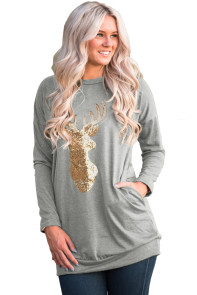 Sparkling Gold Sequin Reindeer Grey Christmas Top