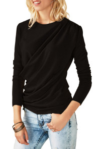 Black Long Sleeve Draped Round Neck T Shirt