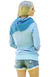 Blue Duotone Chic Hooded Sweatshirt