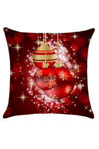 Deep Red Christmas Snowflakes Balls Pattern Throw Pillow Case