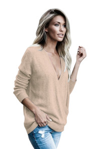 Khaki West Coast Wrap Front Sweater