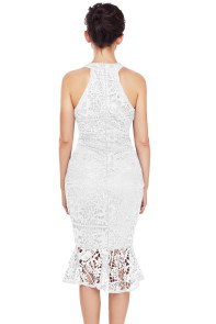 White Sleeveless Lace Fishtail Bodycon Dress