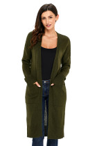 Army Green Knit Long Sleeve Open Front Cardigan