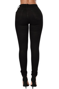 Black Trendy Slit Knee Denim Pants
